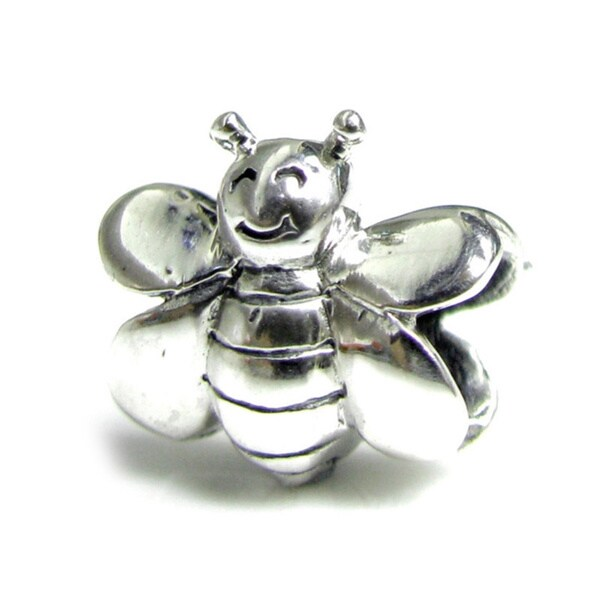Queenberry Sterling Silver Smiling Honey Bumble Bee European Bead Charm