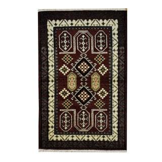 Herat Oriental Indo Hand-knotted Tribal Kazak Red/ Ivory Wool Rug (3'2 x 4'11)