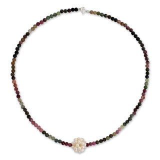 Silver 'Chrysanthemum' Pearl Tourmaline Necklace (3 mm) (Thailand)