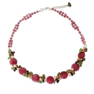 Pearl 'Peony Romance' Multi-gemstone Necklace (4.5-5 mm) (Thailand)