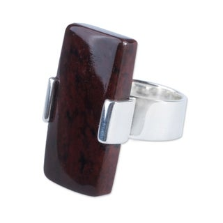 Sterling Silver 'Chocolate Hug' Mahogany Obsidian Ring (Peru)