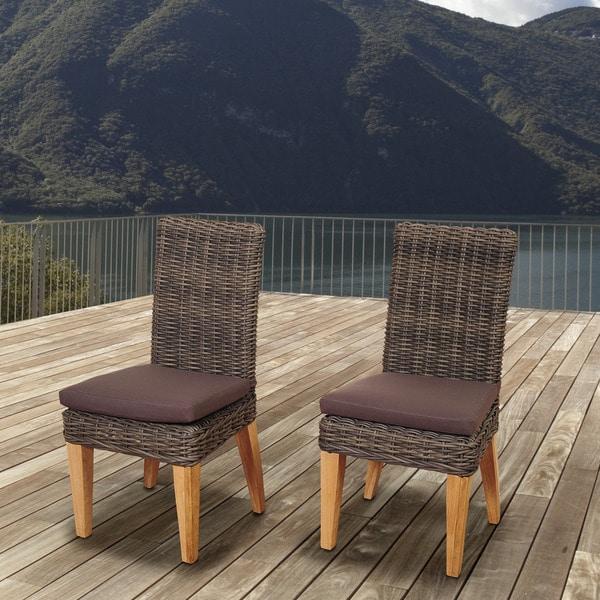 Amazonia Teak Sinclair Wicker/Teak Patio Chair Set with Brown Cushions (Set of 2) (As Is Item) 31412692