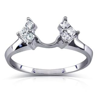 Annello 14k White Gold 1/4ct TDW Diamond Wedding Band Wrap (H-I, I1-I2)