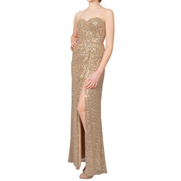 La Femme Gold Sequined Sweetheart Rhinestone Strapless Formal Dress