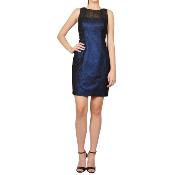 Phoebe Blue Black Sleeveless Illusion Neck Glitter Cocktail Dress