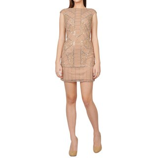 Phoebe Bisque Cap Sleeve Scoop Back Beaded Sequined Cocktail Dress