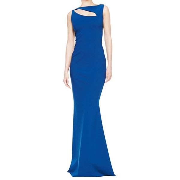 La Petite Robe Blue Sleeveless Jersey Angled Cutout Evening Dress