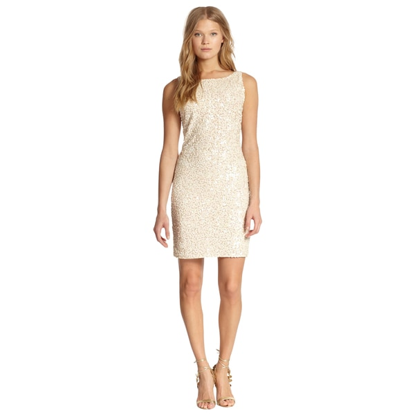 Alice + Olivia Nude Kimber Embellished Allover Sequins Fitted Cocktail Dress