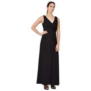 Calvin Klein Black Draped Surplice Beaded Shoulder Evening Dress