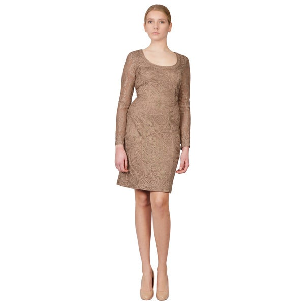 Sue Wong Beige Blush Soutache Embroidered Ribbon Long Sleeve Party Dress