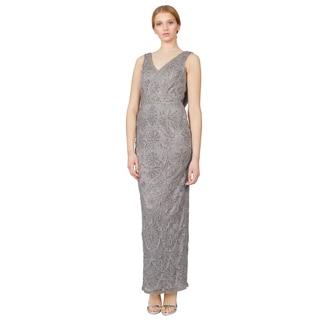 Sue Wong Platinum Floral Embroidered Cowl Back Column Evening Dress
