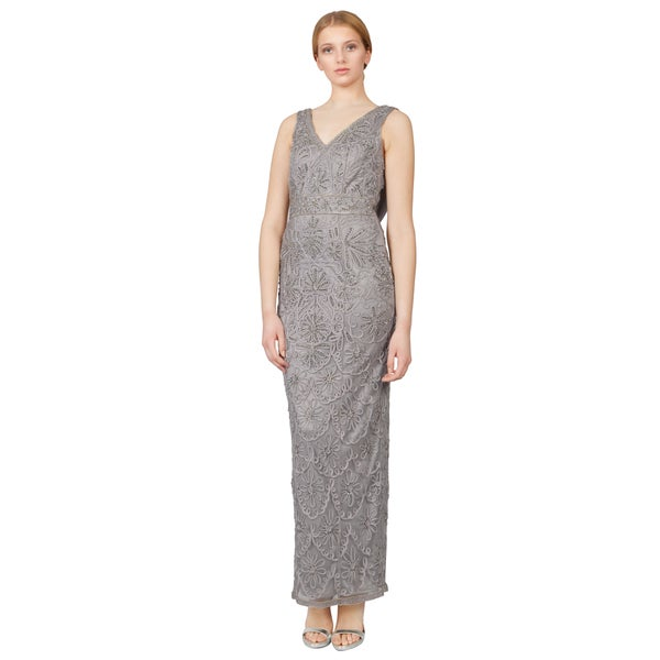 Sue Wong Platinum Floral Embroidered Cowl Back Column Evening Dress