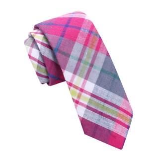 Skinny Tie Madness Mens Pink Plaid Skinny Tie