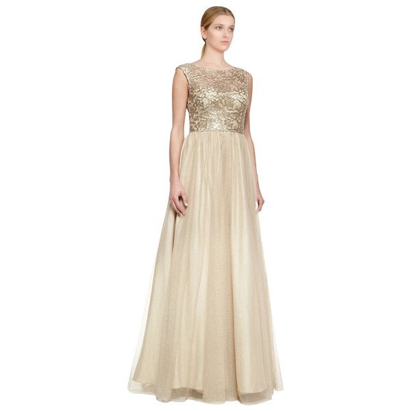 Aidan Mattox Gold Cap Sleeve Lace Side Pocket Evening Dress