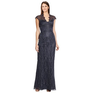 Theia Blue Metallic Illusion Top Lace Cap Sleeve Evening Dress