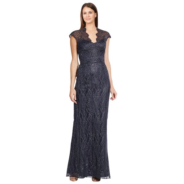 Theia Blue Metallic Illusion Top Lace Cap Sleeve Evening Dress