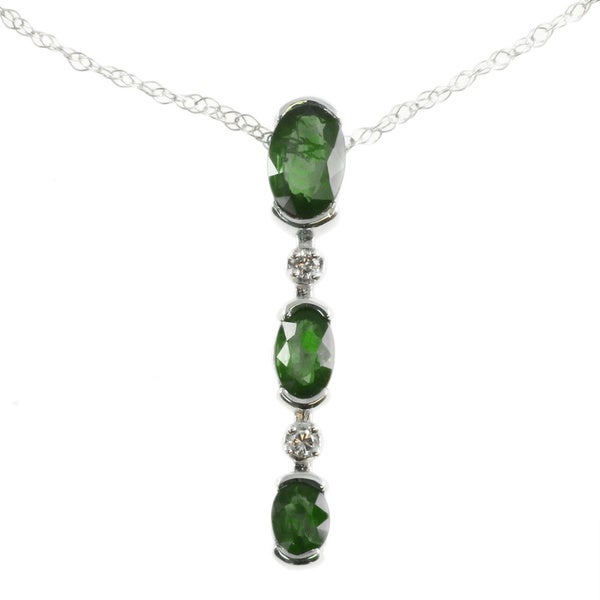 Michael Valitutti 14k White Gold Pendant Choice of Emerald, Ruby, Blue Sapphire