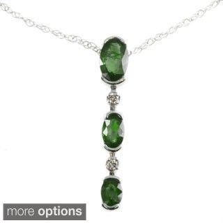Michael Valitutti 14k White Gold Pendant Choice of Emerald, Ruby, Blue Sapphire