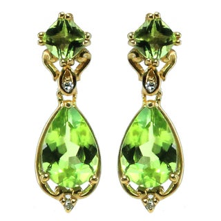 Michael Valitutti 14k Gold and Diamond, Peridot Chandlier Earrings