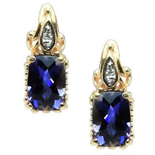 Michael Valitutti 14k Gold Iolite and Diamond Earrings