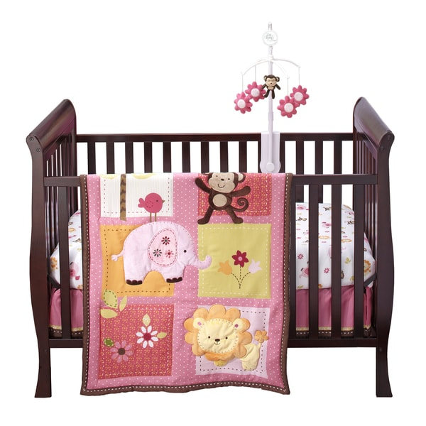 NoJo Raspberry Jungle 4-piece Crib Bedding Set