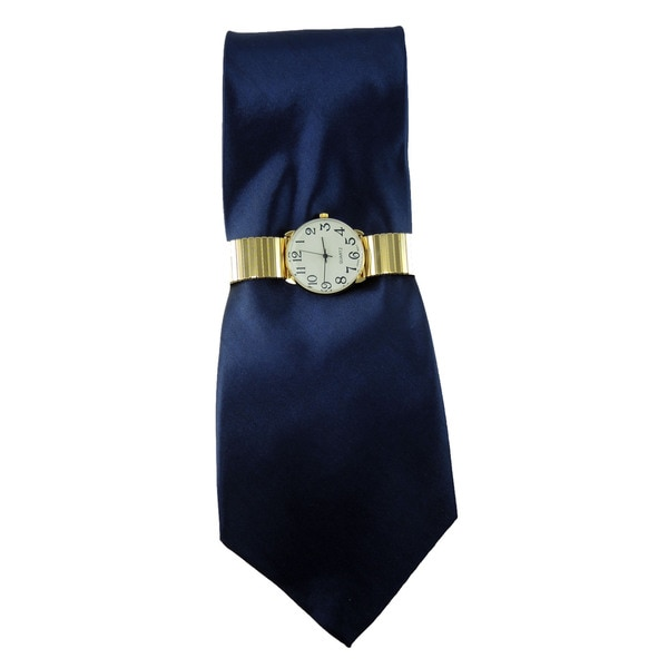 Mens Gold Stretch Band Watch with Steven Harris Solid Navy Blue Necktie Set