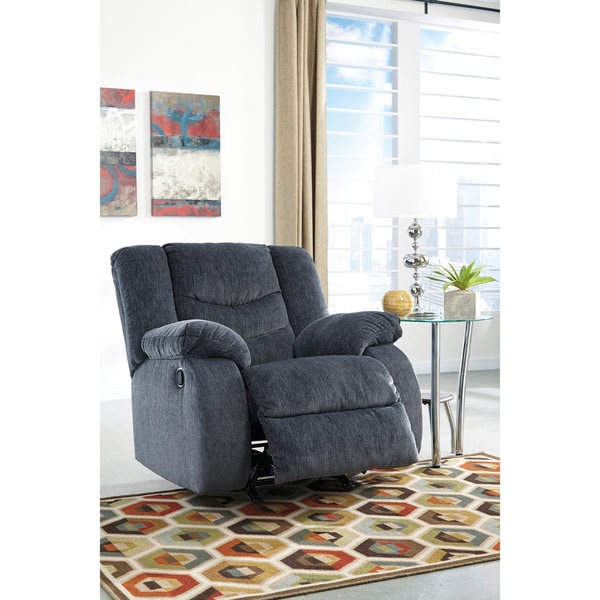 Signature Design by Ashley Garek Blue Power Rocker Recliner