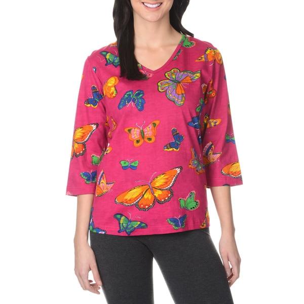 La Cera Women's Butterfly Print Tunic