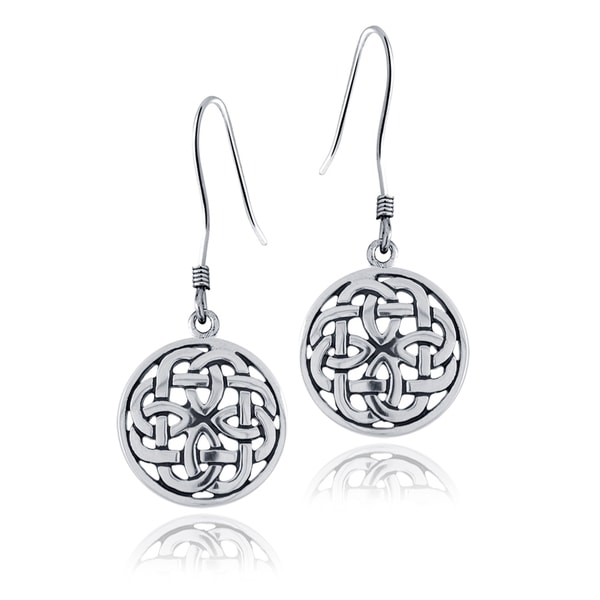 Mondevio Sterling Silver Celtic Knot Round Dangle Earrings 15203837