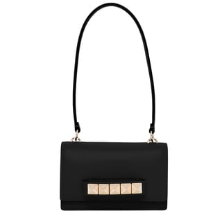 Valentino Macro Studs Black Leather Shoulder Bag