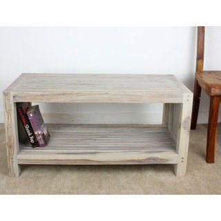 Agate Grey Oil Teak Slat Coffee Table with Shelf (Thailand)