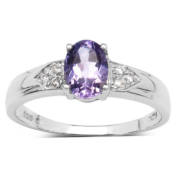 Malaika Sterling Silver Oval Amethyst Diamond Accent Ring