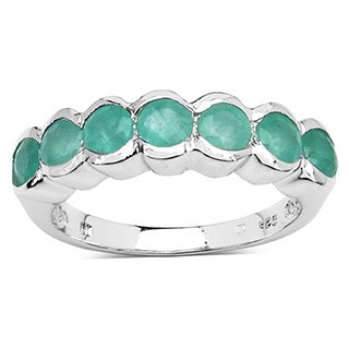 Malaika Sterling Silver Emerald 7-stone Ring