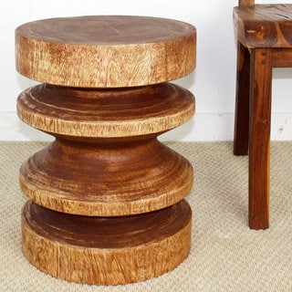 Light Teak Oil Round Zig-zag Circular End Table (Thailand)