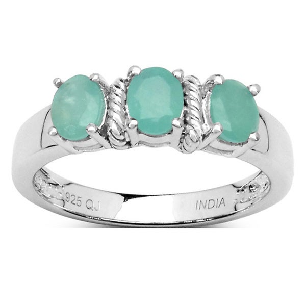 Malaika Sterling Silver Oval Emerald 3-stone Ring