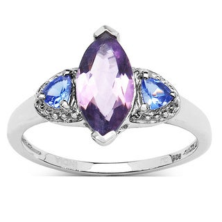 Malaika Sterling Silver Marquise Amethyst and Tanzanite Ring
