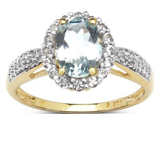 Malaika 14K Yellow Gold Plated 1.46 Carat Genuine Aquamarine and White Topaz .925 Sterling Silver Ring