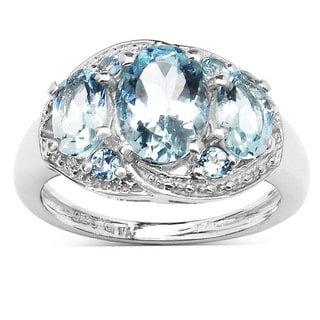 Malaika Sterling Silver Oval Aquamarine 3-stone Ring