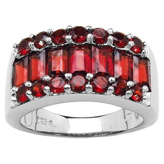 Malaika Sterling Silver Baguette and Round Garnet Ring
