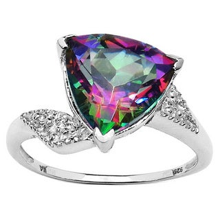 Malaika Sterling Silver Trillion-cut Mystic Topaz Ring