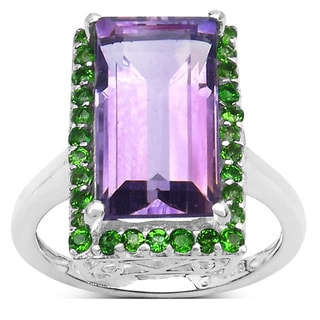 Malaika Malaika Sterling Silver Baguette Amethyst Chrome Diopside Ring