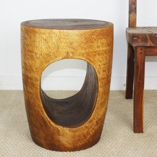 'Big Eye' Walnut Oil Glazed Acacia Wood End Table (Thailand)