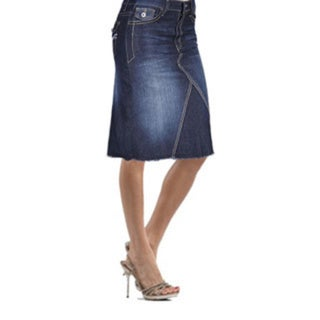 Tabeez Women's Black Washed Denim Skirt with Stitching