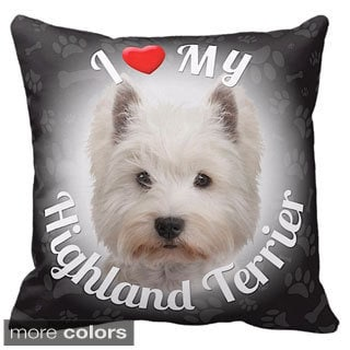 I Love My Highland Terrier Throw Pillow