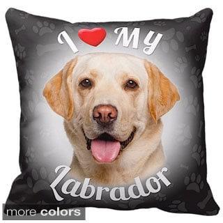 I Love My Labrador Yellow Throw Pillow