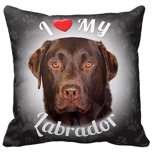 I Love My Labrador Chocolate Throw Pillow