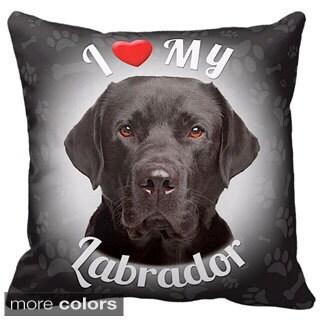 I Love My Labrador Black Throw Pillow
