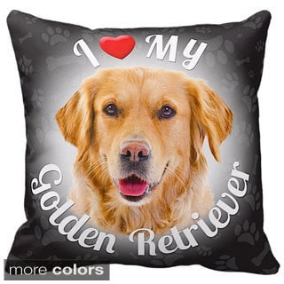 I Love My Golden Retriever Throw Pillow