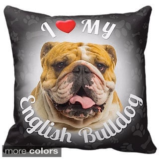 I Love My English Bulldog Throw Pillow