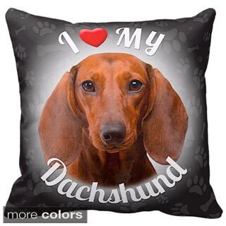 I Love My Dachshund Brown Throw Pillow